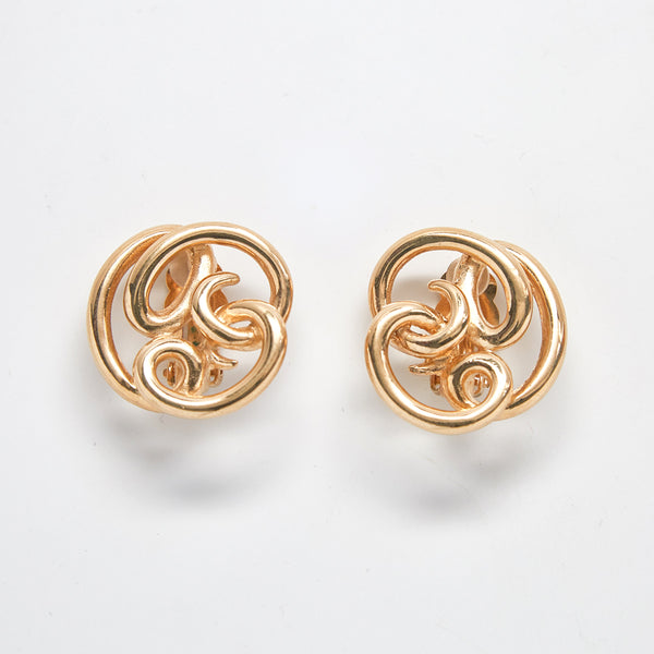 Vintage Givenchy Gold Swirl Earrings