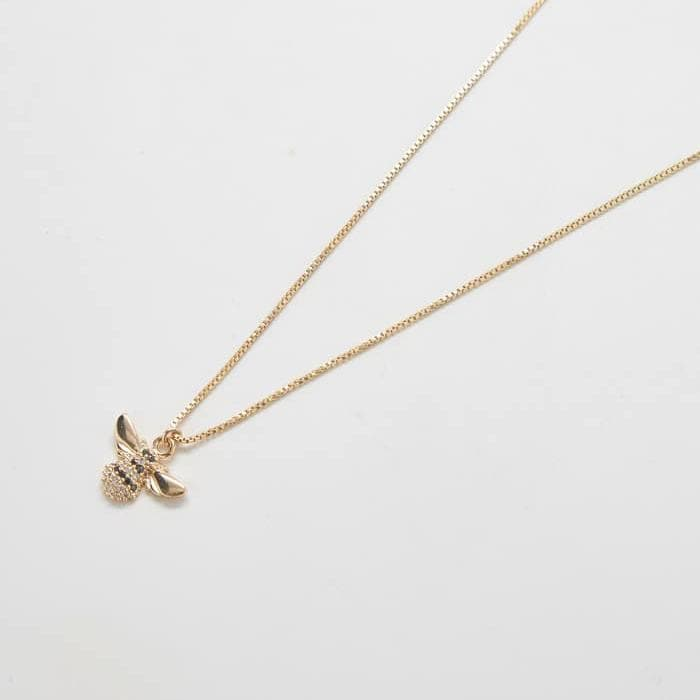 Gold Pave Bee Necklace