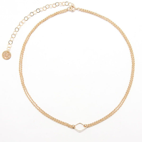 Gold Diamond Double Link Choker Necklace
