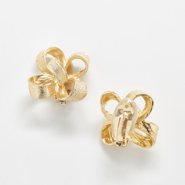 Vintage Gay Boyer Gold Bow Earrings