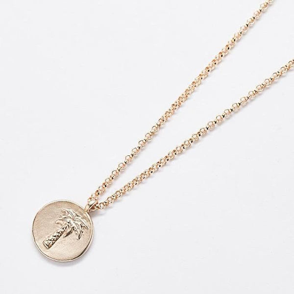 Gold Coin Palm Tree Necklace