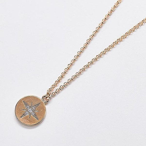 Gold Coin Pave Star Necklace