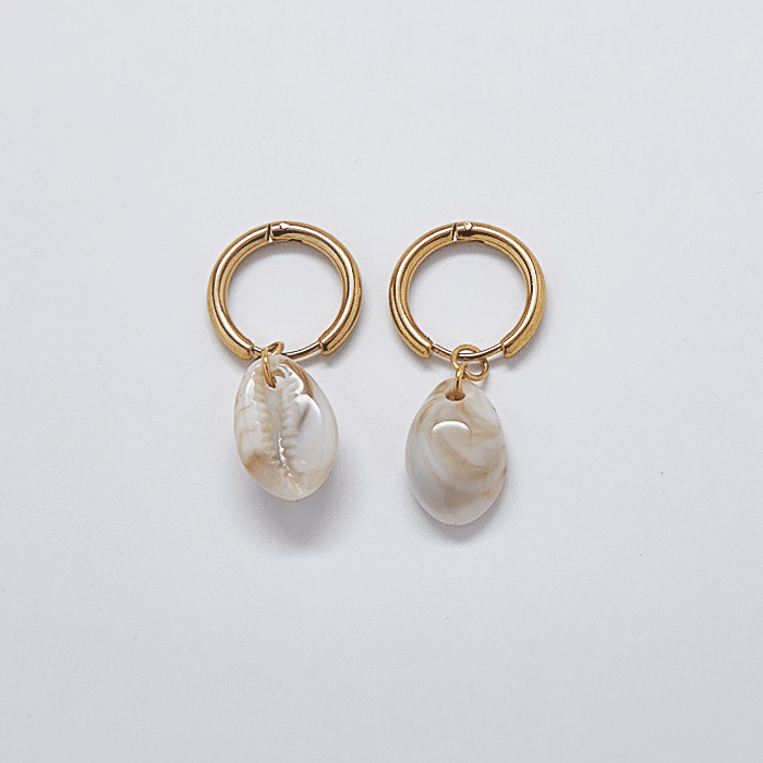 Gold Cowrie Shell Huggie Earrings