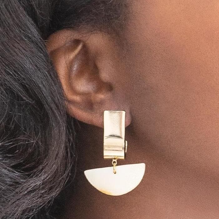 Gold Crescent Stone Drop Earrings