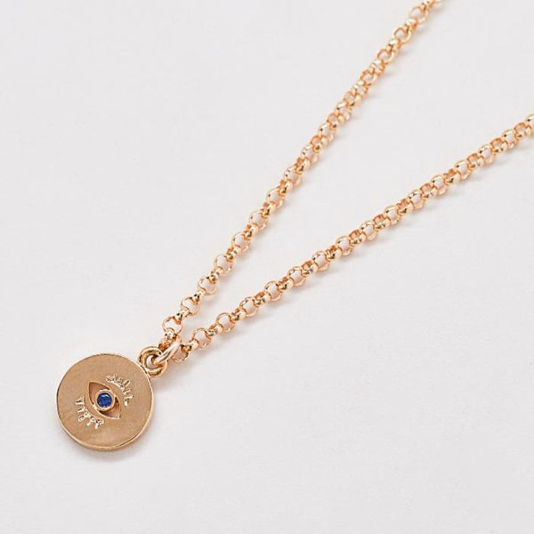 Gold Evil Eye Coin Pendant Necklace