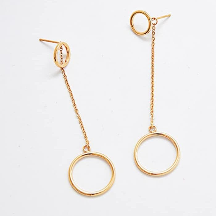 Gold Geometric Circle Dangle Earrings
