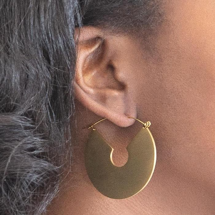 Gold Geometric Semi-Circle Earrings