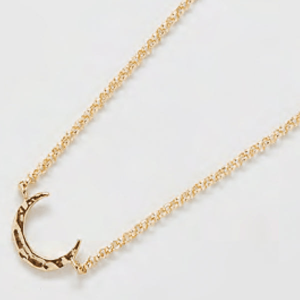 Gold Hammered Crescent Moon Necklace