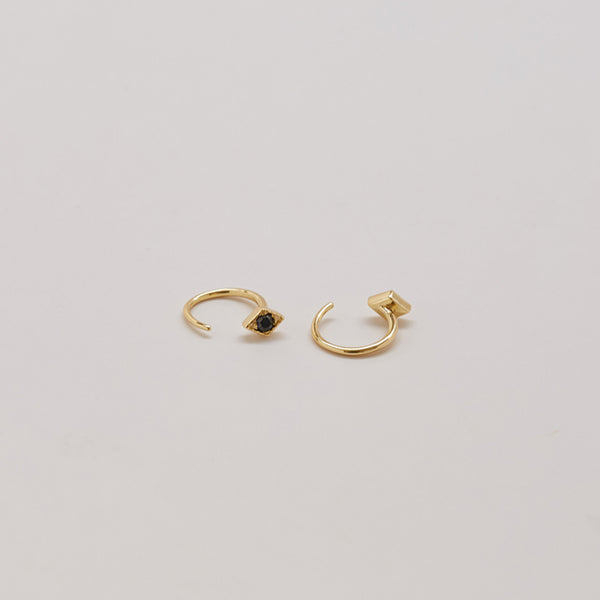Black Pave Open Hoop Earrings