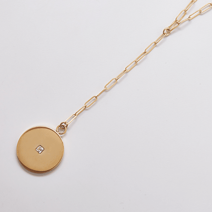 Gold Pave Disc Coin Lariat
