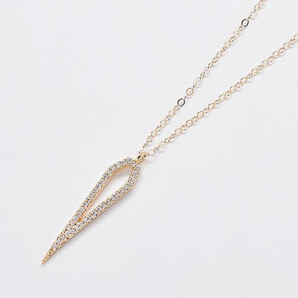 Gold Pave Stone Pentagon Necklace