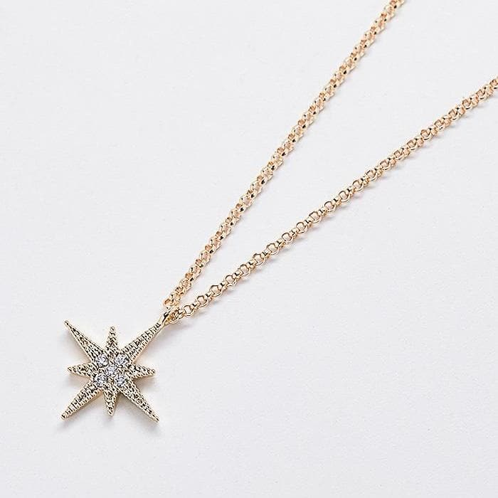 Gold Pave Stone Star Necklace