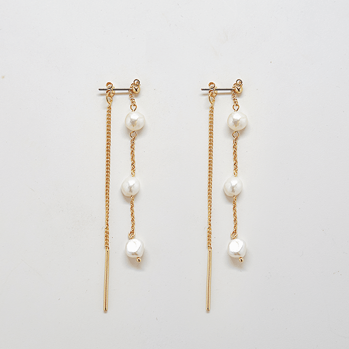 Gold Pearl Chain Earrings