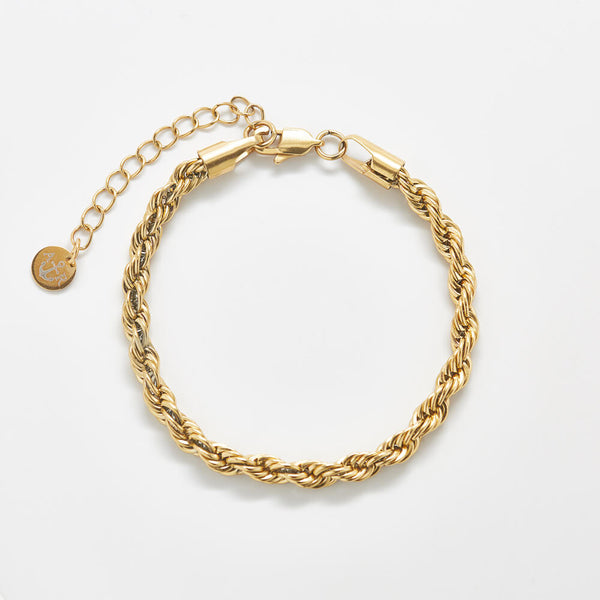 Gold Thick Rope Chain Bracelet