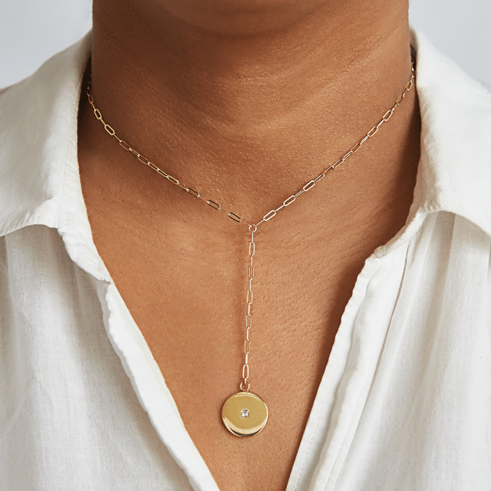 Pave Disc Lariat Necklaces