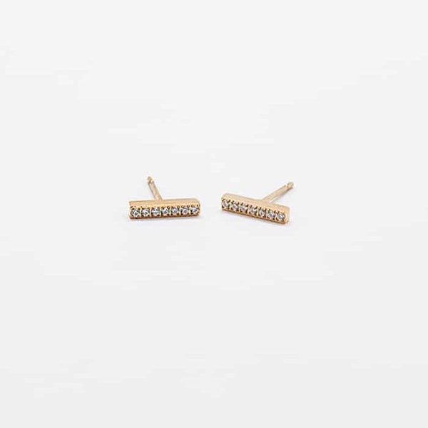 Pave Gold Bar Studs