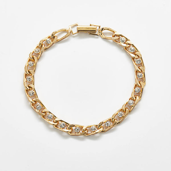Vintage Gold Bracelet with Pave Accents