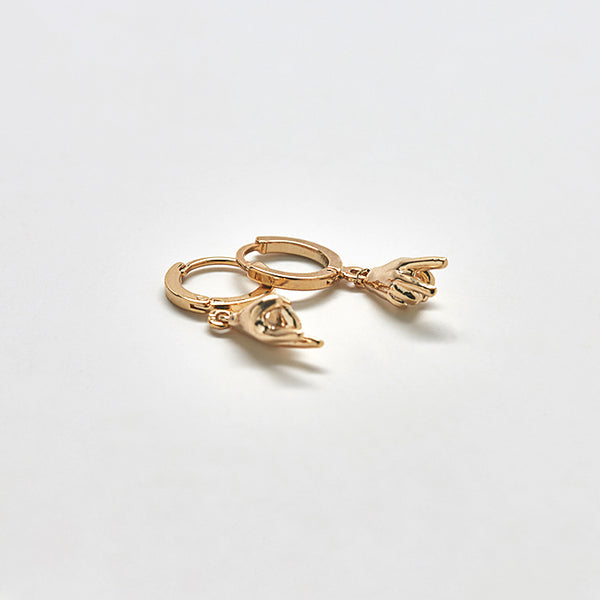 Gold Peace Huggie Earrings