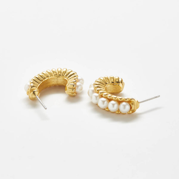 Vintage Pearl Semi-Circle Hoop Earrings