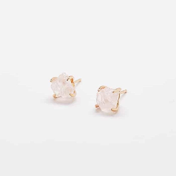 Rose Quartz Gold Claw Studs