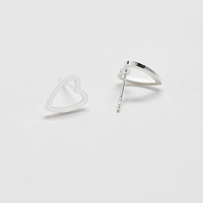 Silver Heart Outline Stud Earrings Back