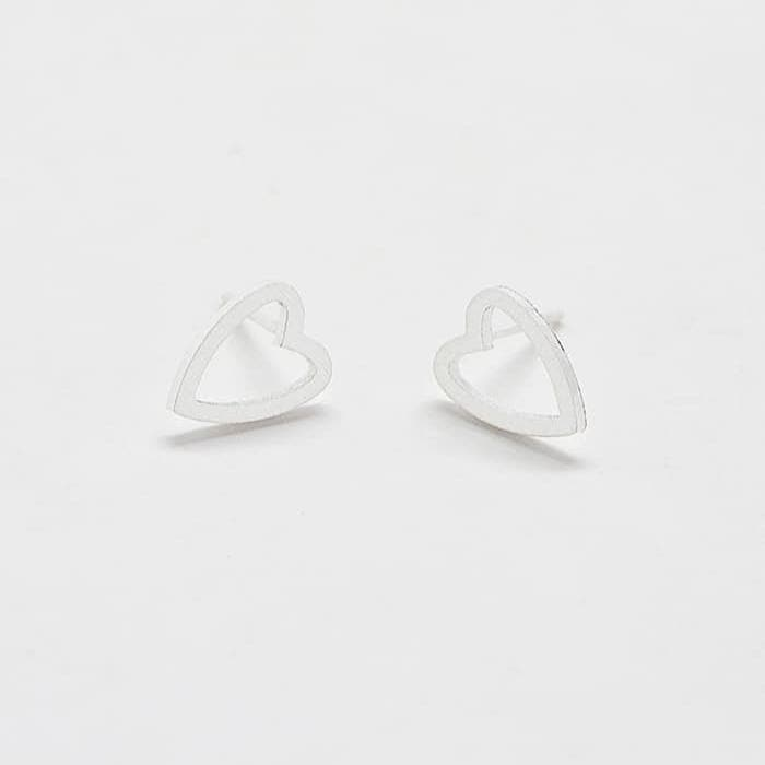 Silver Heart Outline Stud Earrings Front