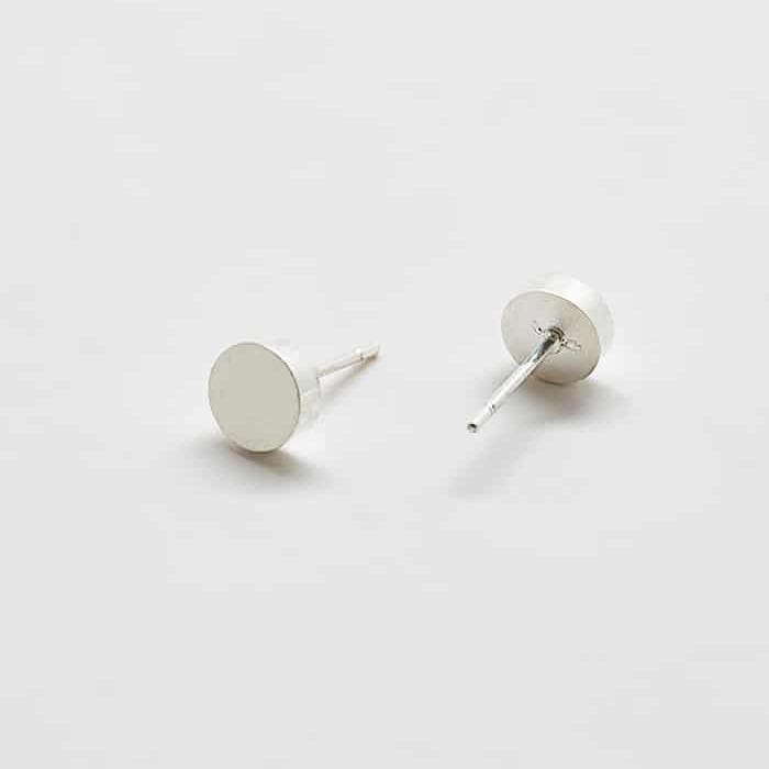 Silver Round Flat Stud Earrings