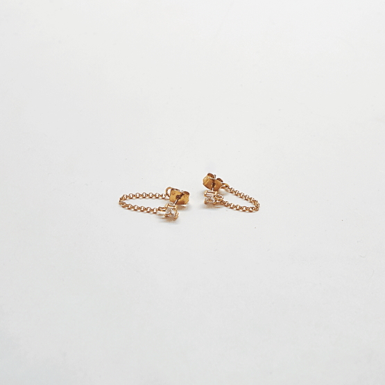 Gold CZ Chain Huggie Earrings