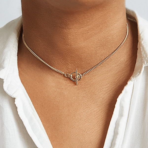 Gold Statement Toggle Necklace
