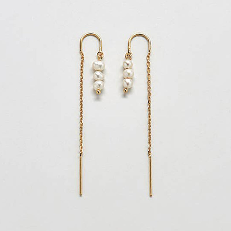 Triple Pearl Drop Threader Earrings