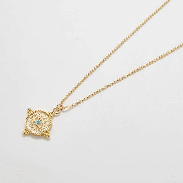 Turquoise Pave Evil Eye Medallion Necklace
