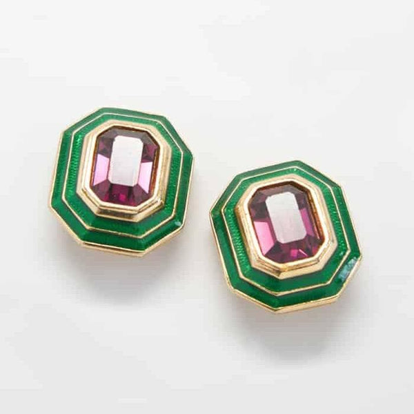 Purple and Green Vintage Earrings