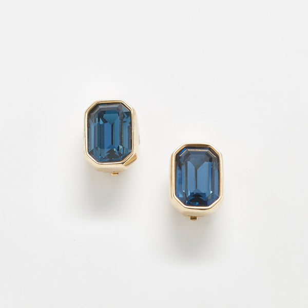 Vintage Blue Cube Swarovski Earrings