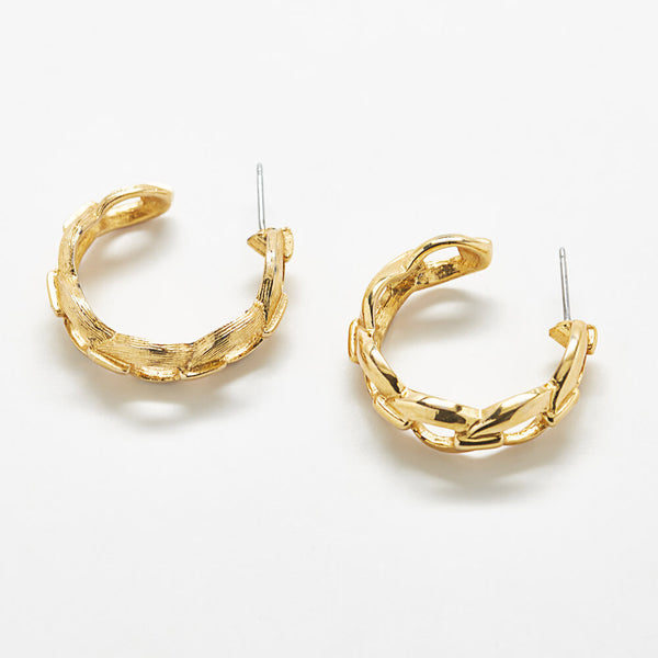 Vintage Braided Gold Hoop Earrings