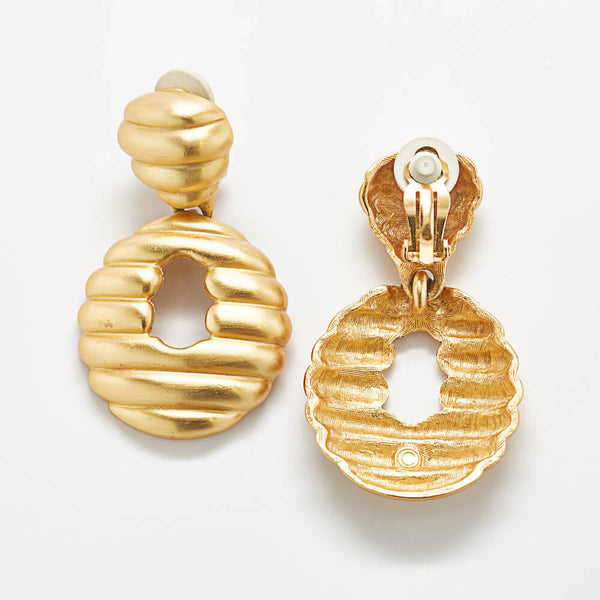 Vintage Matte Gold Beehive Statement Earrings