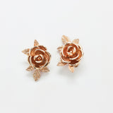 Vintage Gold Rose Earrings