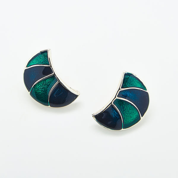 Vintage Half Moon Enamel Earrings