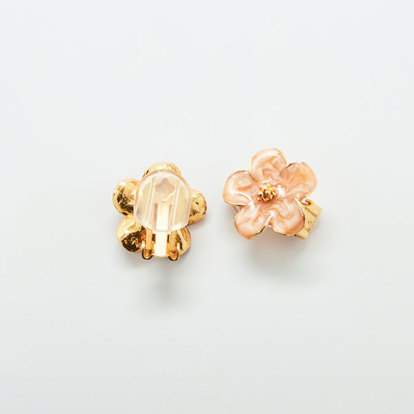 Vintage Peach Flower Earrings
