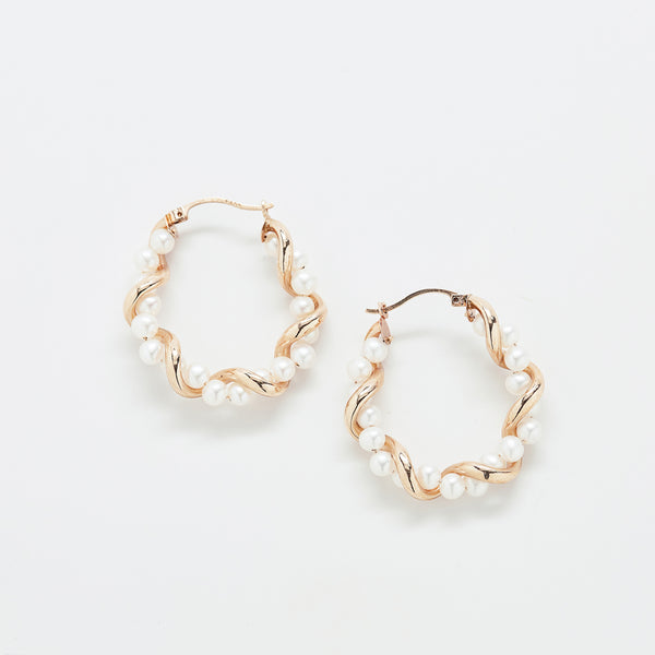Vintage Pearl and Gold Hoop Earrings