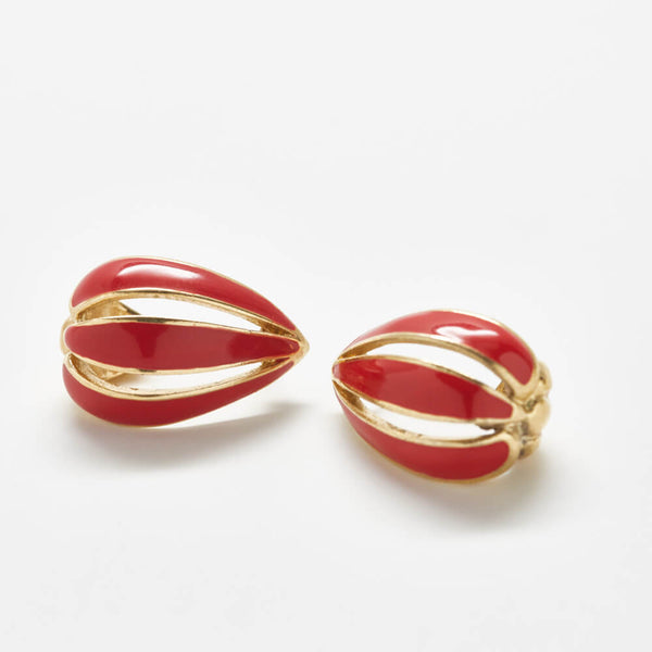 Vintage Trifari Red Petal Drop Earrings