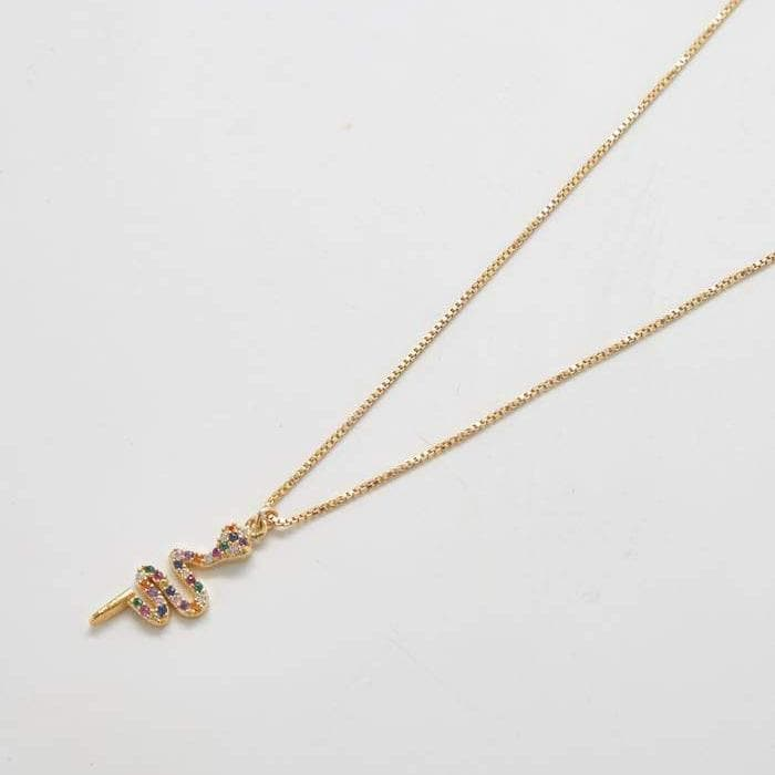 Gold Multicolor Pave Snake Necklace