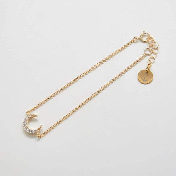 Gold Pave Crescent Moon Bracelet