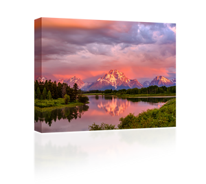 Pink Sunset Over the Grand Tetons