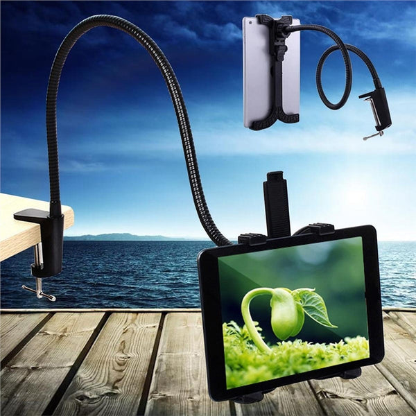 Clamp Mount Tablet Stand Table Holder 360 Degree Rotating Gooseneck Swivel Universal Lazy Holder for iPad/Tablet PC from 5 to 11 Inch (Black) - myhomelyoffice.com