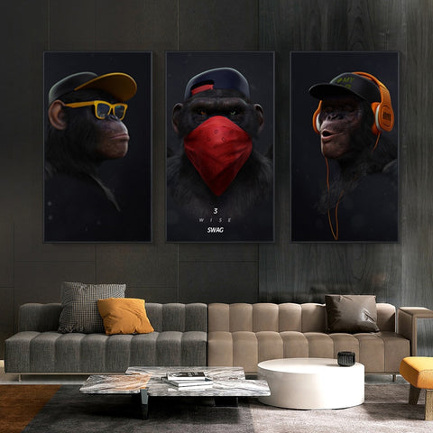 Modern Three Monkeys Canvas Wall Art Posters - myhomelyoffice.com