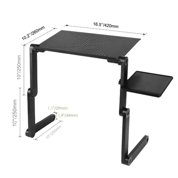 Adjustable Aluminum Ergonomic Bed Lapdesk Tray - myhomelyoffice.com