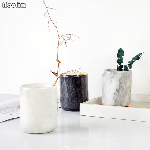 Nordic Marble Storage Pots With Lid - myhomelyoffice.com
