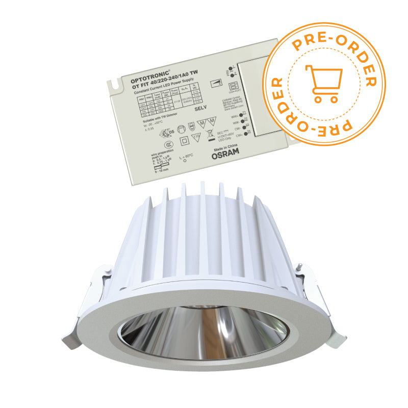OSRAM CORE DL RC 25 B TW 26W LED DOWNLIGHT w/ OSRAM OT FIT 40 TW LED DIMMABLE DRIVER (2700K-6500K/TUNABLE WHITE)