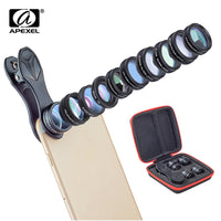 APEXEL 10in1 Phone Camera Lens Kit Fisheye Wide Angle Telescope Macro Mobile Lenses For iPhone Samsung Redmi 7 Huawei Cell Phone
