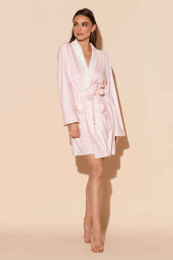 Pink Stripe Short Robe